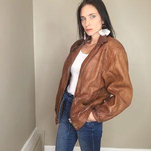 Vintage Etienne Aigner Camel Brown Leather  Jacket